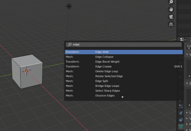 Blender's command search