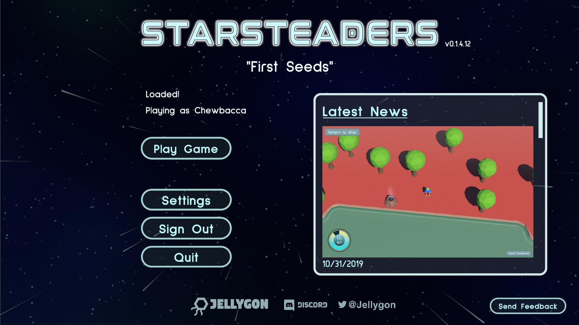 Starsteaders v0.1.4 start menu